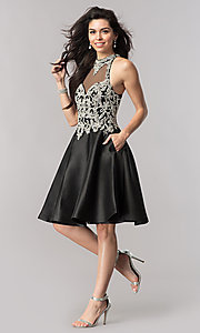 Image of black short beaded-bodice open-back homecoming dress. Style: NC-171 Detail Image 2