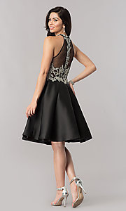 Image of black short beaded-bodice open-back homecoming dress. Style: NC-171 Detail Image 3