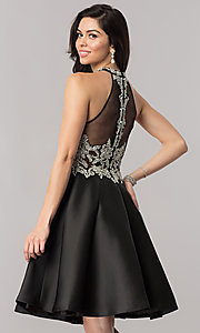 Image of black short beaded-bodice open-back homecoming dress. Style: NC-171 Back Image