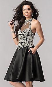 Image of black short beaded-bodice open-back homecoming dress. Style: NC-171 Front Image