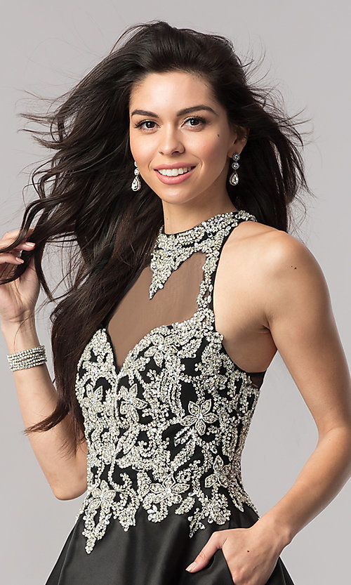 Image of black short beaded-bodice open-back homecoming dress. Style: NC-171 Detail Image 1