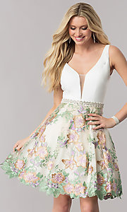 Short Illusion Deep V-Neck Floral Embroidered Homecoming Dress