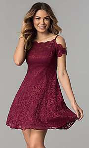 Scalloped Cold-Shoulder Lace Short Party Dress