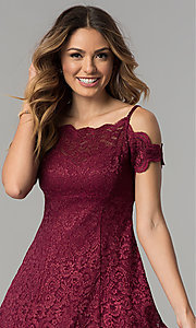 Image of scalloped cold-shoulder lace short party dress. Style: MO-12395 Detail Image 1