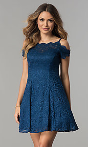 Image of scalloped cold-shoulder lace short party dress. Style: MO-12395 Detail Image 2