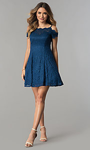 Image of scalloped cold-shoulder lace short party dress. Style: MO-12395 Detail Image 3