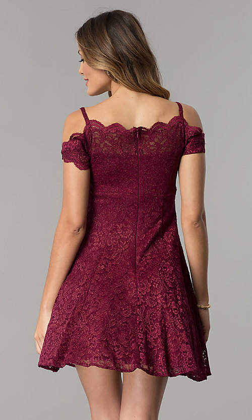 Image of scalloped cold-shoulder lace short party dress. Style: MO-12395 Back Image