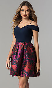 Short A-Line Party Dress with Print Skirt