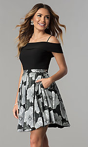 Image of off-the-shoulder short black/silver print party dress. Style: MO-12426 Front Image