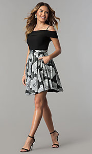 Image of off-the-shoulder short black/silver print party dress. Style: MO-12426 Detail Image 2