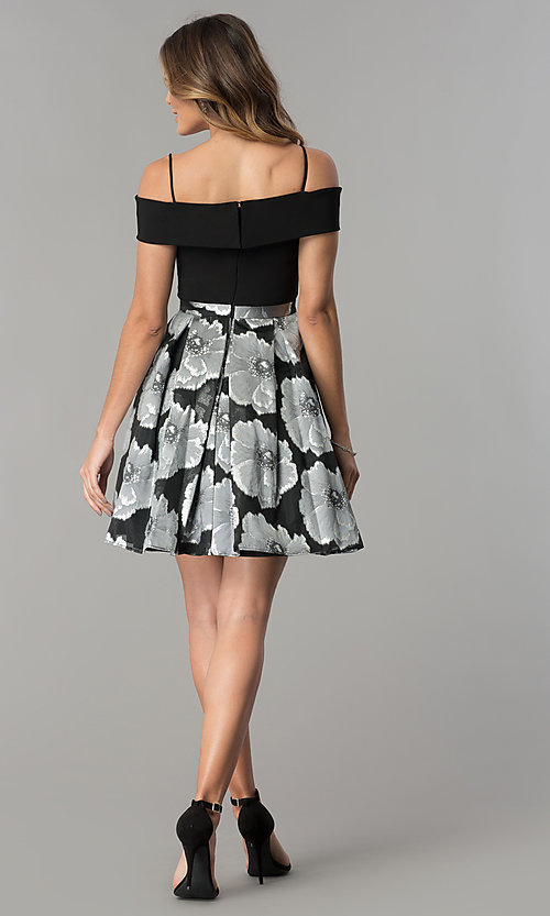 Image of off-the-shoulder short black/silver print party dress. Style: MO-12426 Detail Image 3