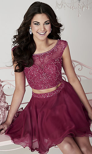 Short Two-Piece Open Back Hannah S Homecoming Dress with Cap Sleeves