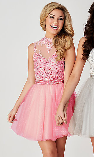 Short Open-Back Ice Pink Hannah S Homecoming Dress