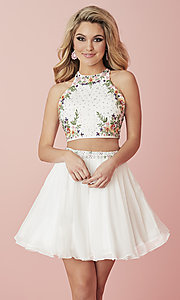 Image of short two-piece homecoming dress with embroidery. Style: HS-27111 Front Image