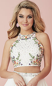 Image of short two-piece homecoming dress with embroidery. Style: HS-27111 Detail Image 1