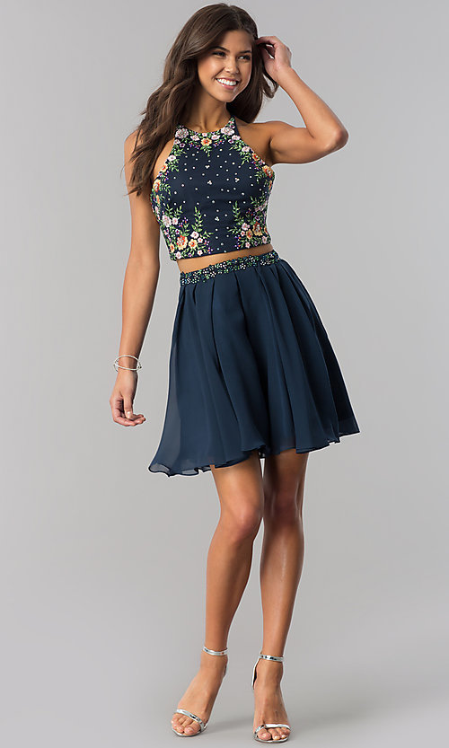 Image of short two-piece homecoming dress with embroidery. Style: HS-27111 Detail Image 3