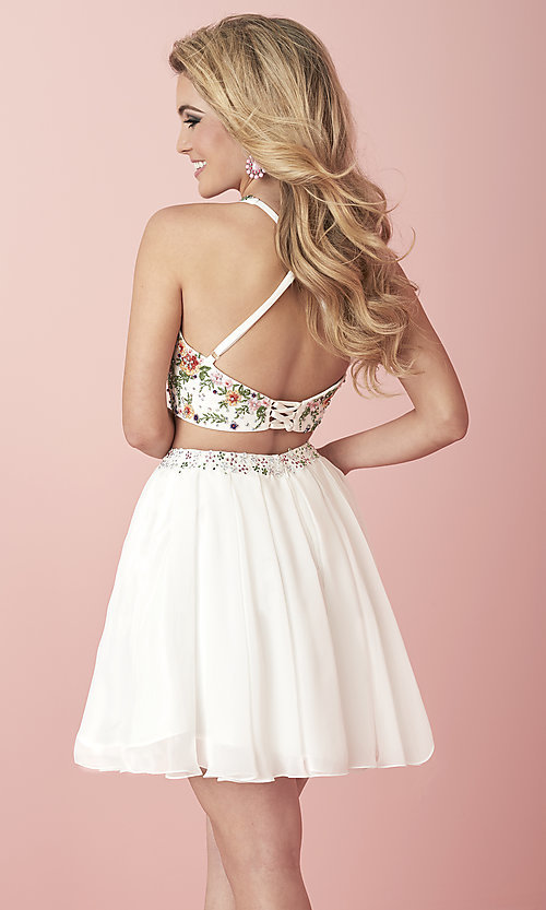 Image of short two-piece homecoming dress with embroidery. Style: HS-27111 Back Image