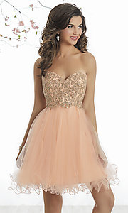 Corset-Back Short Empire-Waist Homecoming Dress