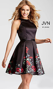 Short Black Print Open-Back Homecoming Dress