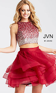 Short Two-Piece JVN by Jovani Homecoming Dress with Beaded Top