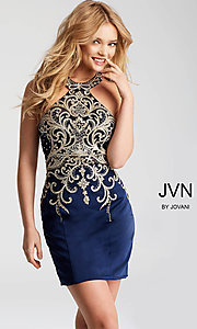 JVN by Jovani Short Prom Dress with High-Neck Collar