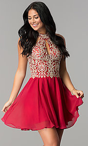 Image of short homecoming dress with sheer cut-out bodice. Style: JO-JVN-JVN53177 Front Image