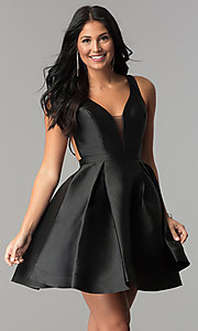 Image of short JVN by Jovani open-back homecoming dress. Style: JO-JVN-JVN53360 Detail Image 1