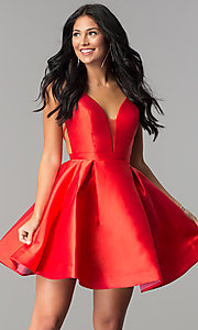 Image of short JVN by Jovani open-back homecoming dress. Style: JO-JVN-JVN53360 Front Image