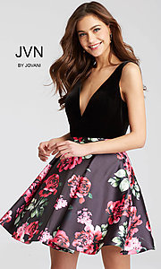 Short Printed JVN by Jovani V-Neck Homecoming Dress
