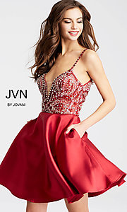 Image of JVN by Jovani homecoming dress with deep v-neck. Style: JO-JVN-JVN53168 Front Image