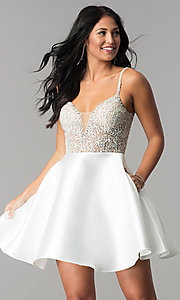 JVN by Jovani Homecoming Dress with Deep V-Neck