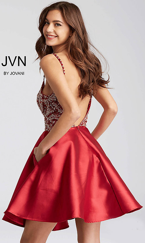 Image of JVN by Jovani homecoming dress with deep v-neck. Style: JO-JVN-JVN53168 Back Image