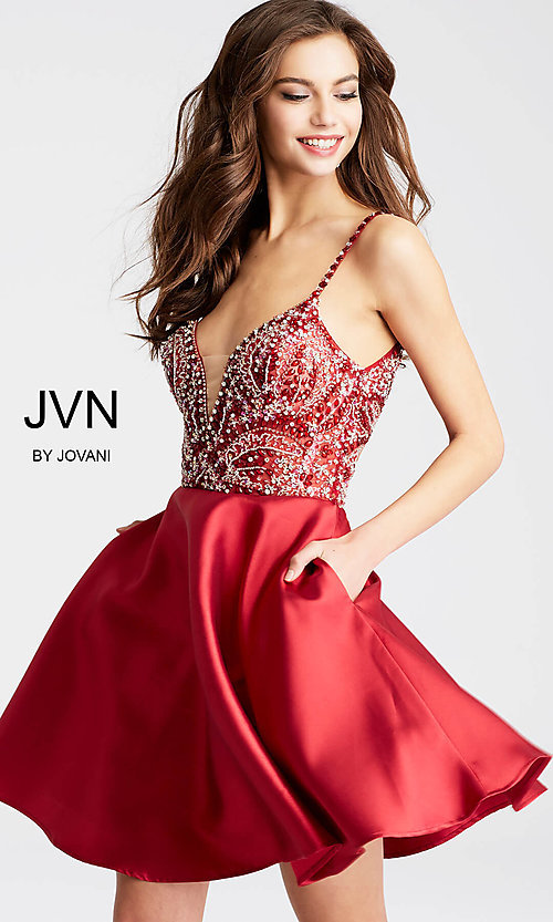 Image of JVN by Jovani homecoming dress with deep v-neck. Style: JO-JVN-JVN53168 Detail Image 2