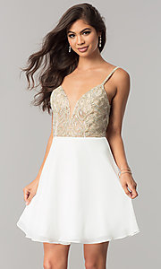 JVN by Jovani Homecoming Dress with Illusion Bodice