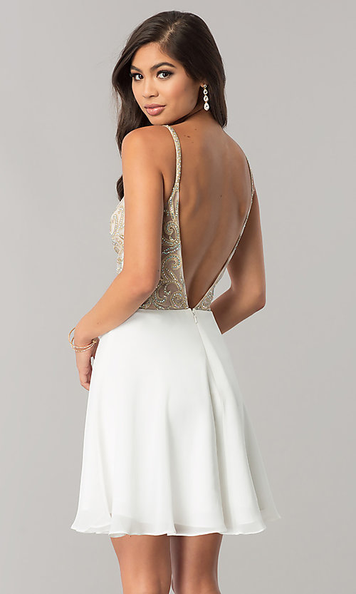 Image of JVN by Jovani homecoming dress with illusion bodice. Style: JO-JVN-JVN53178 Back Image