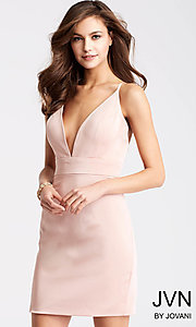 JVN by Jovani Homecoming Dress with Plunging V-Neck