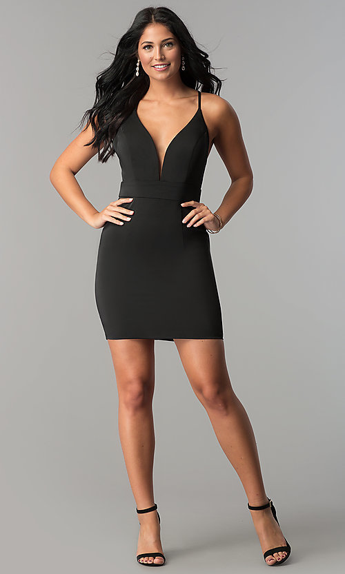 Image of JVN by Jovani homecoming dress with plunging v-neck. Style: JO-JVN-JVN57292 Detail Image 3