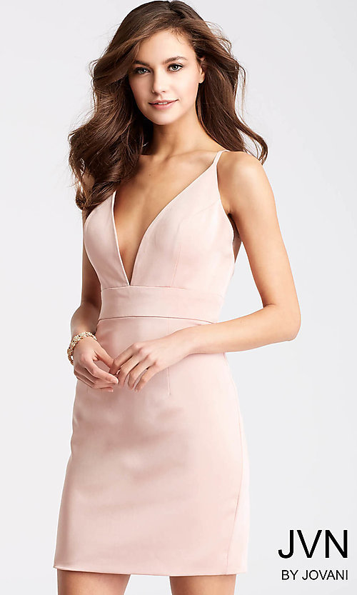 Image of JVN by Jovani homecoming dress with plunging v-neck. Style: JO-JVN-JVN57292 Front Image