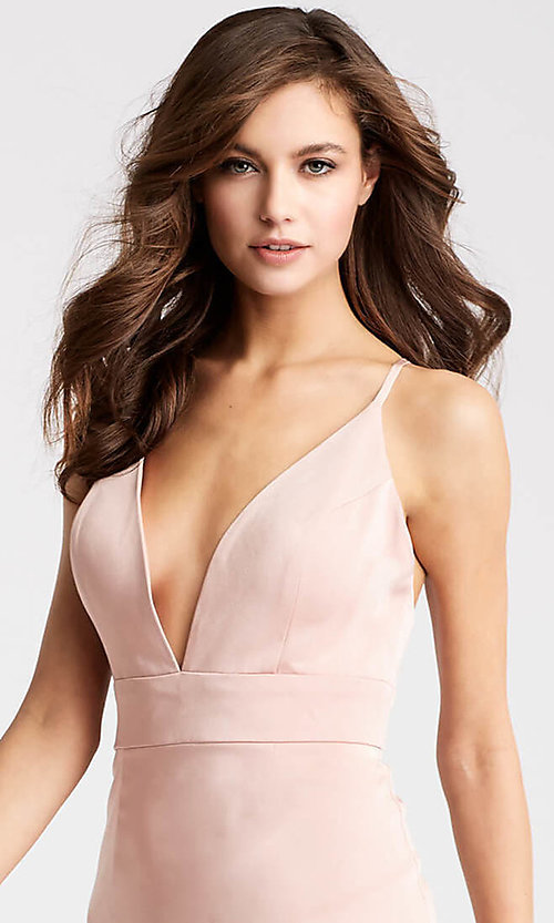 Image of JVN by Jovani homecoming dress with plunging v-neck. Style: JO-JVN-JVN57292 Detail Image 1