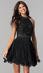 Image of lace-applique halter pleated homecoming dress. Style: JO-JVN-JVN53030 Detail Image 1