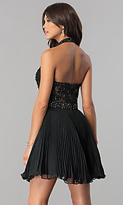 Image of lace-applique halter pleated homecoming dress. Style: JO-JVN-JVN53030 Back Image