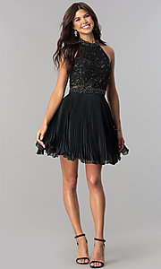 Image of lace-applique halter pleated homecoming dress. Style: JO-JVN-JVN53030 Detail Image 2