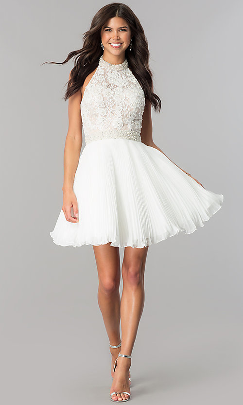Image of lace-applique halter pleated homecoming dress. Style: JO-JVN-JVN53030 Detail Image 3