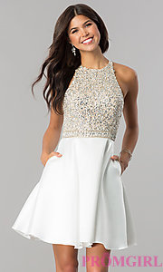 Image of embellished-bodice homecoming dress with pockets. Style: JO-JVN-JVN57782 Detail Image 1