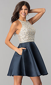 Image of embellished-bodice homecoming dress with pockets. Style: JO-JVN-JVN57782 Front Image