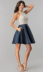 Image of embellished-bodice homecoming dress with pockets. Style: JO-JVN-JVN57782 Detail Image 3