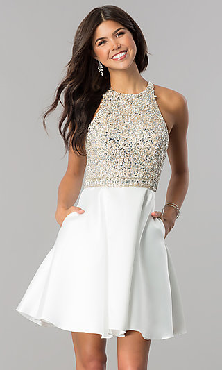 Embellished-Bodice Homecoming Dress with Pockets
