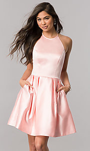 Image of high-neck halter Sherri Hill satin homecoming dress. Style: SH-51273 Detail Image 1
