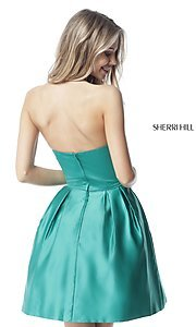 Image of high-neck halter Sherri Hill satin homecoming dress. Style: SH-51273 Back Image