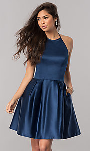 Image of high-neck halter Sherri Hill satin homecoming dress. Style: SH-51273 Front Image